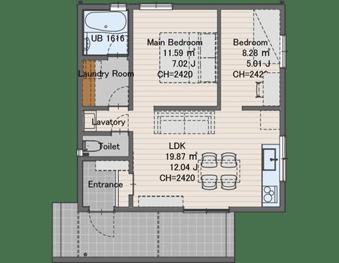 0808サイズ861万円(税込)延床面積 53㎡建物面積 57.96㎡