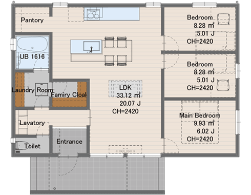 1208サイズ1254万円(税込)延床面積 79.50㎡建物面積 86.12㎡