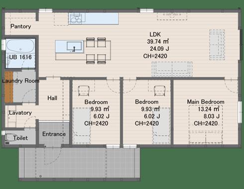 1408サイズ1337万円(税込)延床面積 92.75㎡建物面積 99.37㎡