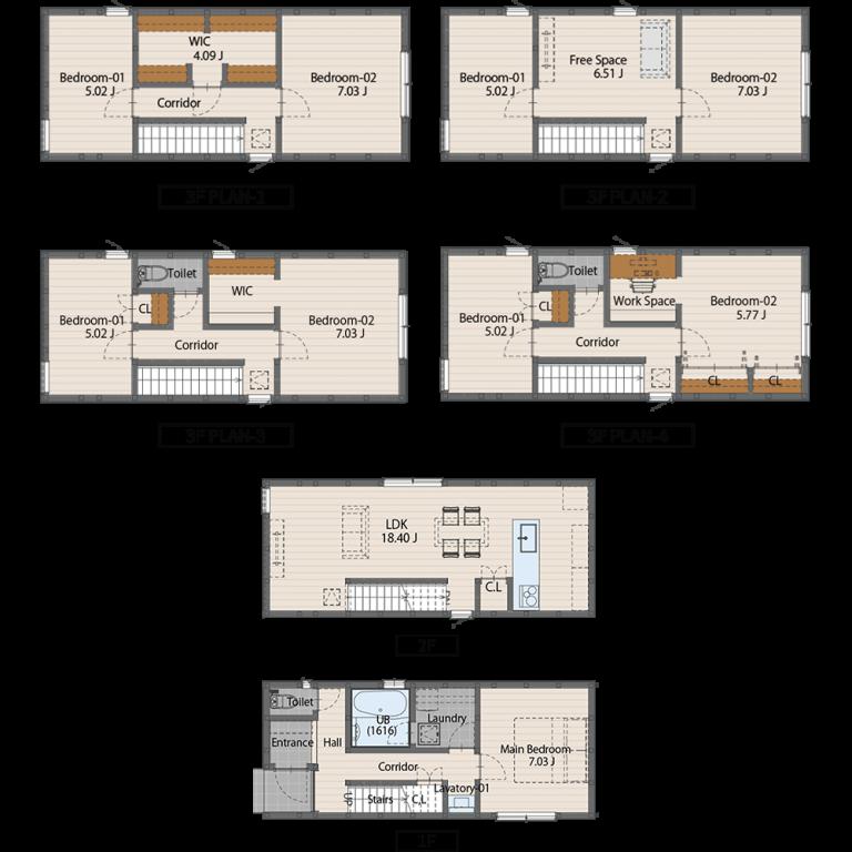 0410サイズ(3階建てプラン)1475万円(税込)1階床面積49.69㎡2階床面積53.00㎡延床面積102.69㎡建物面積 59.63㎡