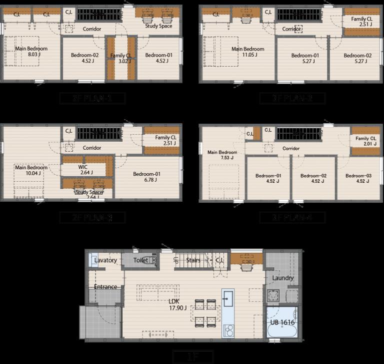 0512サイズ(2階建てプラン)1407万円(税込)1階床面積46.37㎡2階床面積49.68㎡延床面積 96.05㎡建物面積 49.68㎡