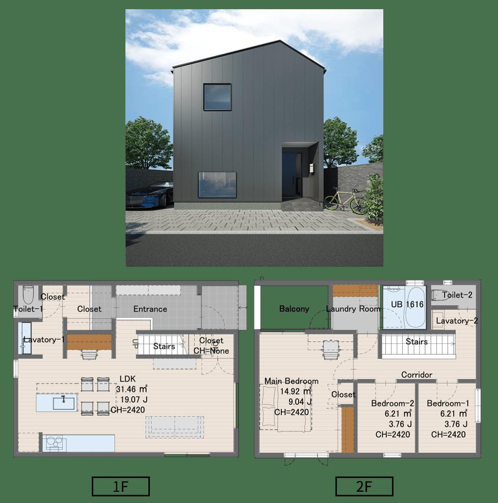 0709サイズ 1637万円(税込)1階床面積49.69㎡2階床面積47.20㎡延床面積 96.89㎡建物面積 52.17㎡