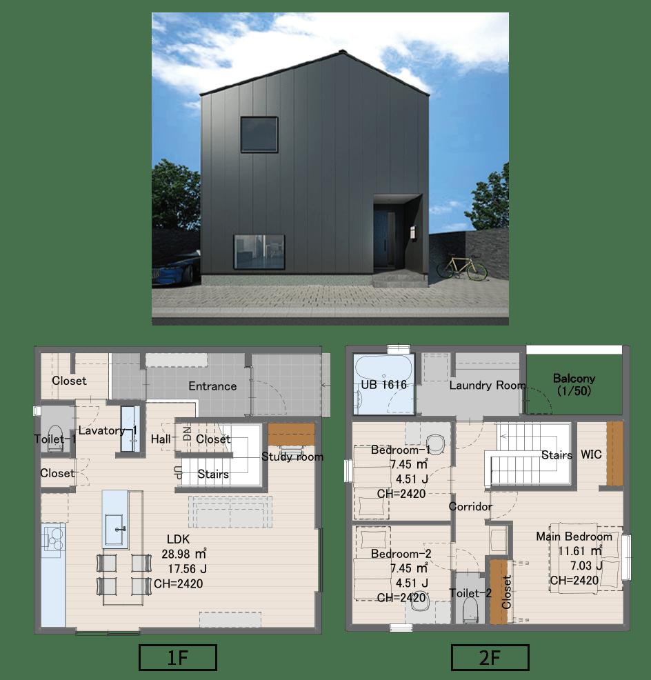 0808サイズ 1647万円(税込)1階床面積49.68㎡2階床面積48.02㎡延床面積101.01㎡建物面積52.99㎡
